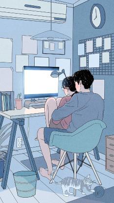 情侣 爱情 拥抱 电脑 插画