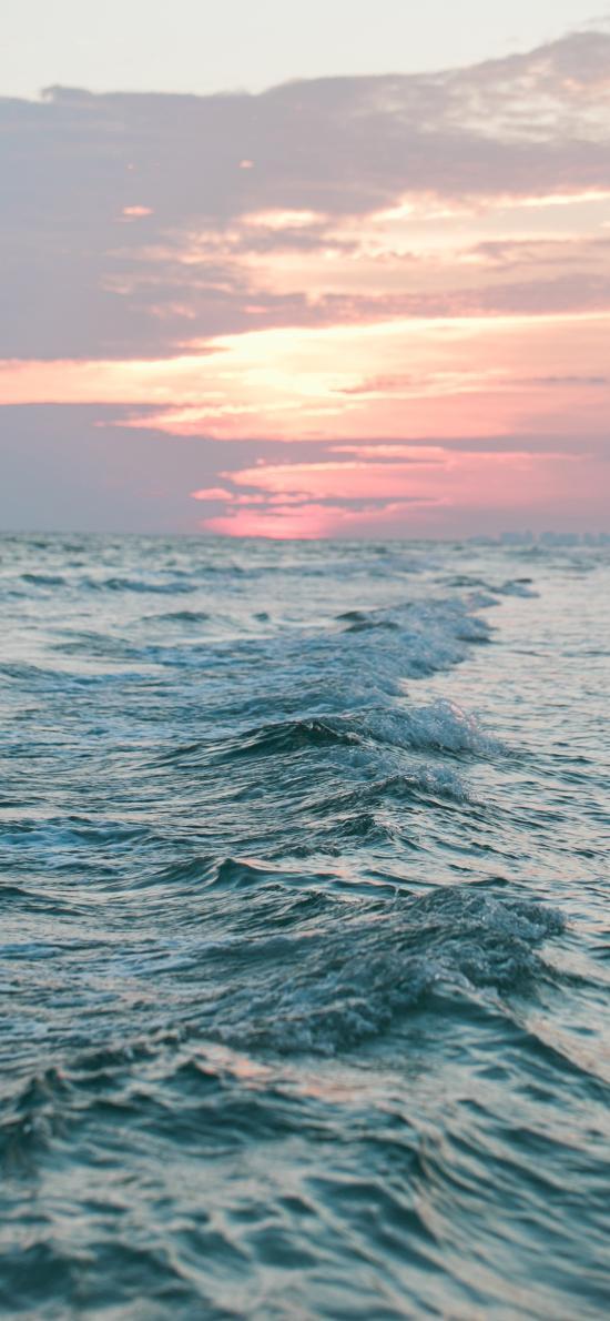 大海 海浪 落日 晚霞
