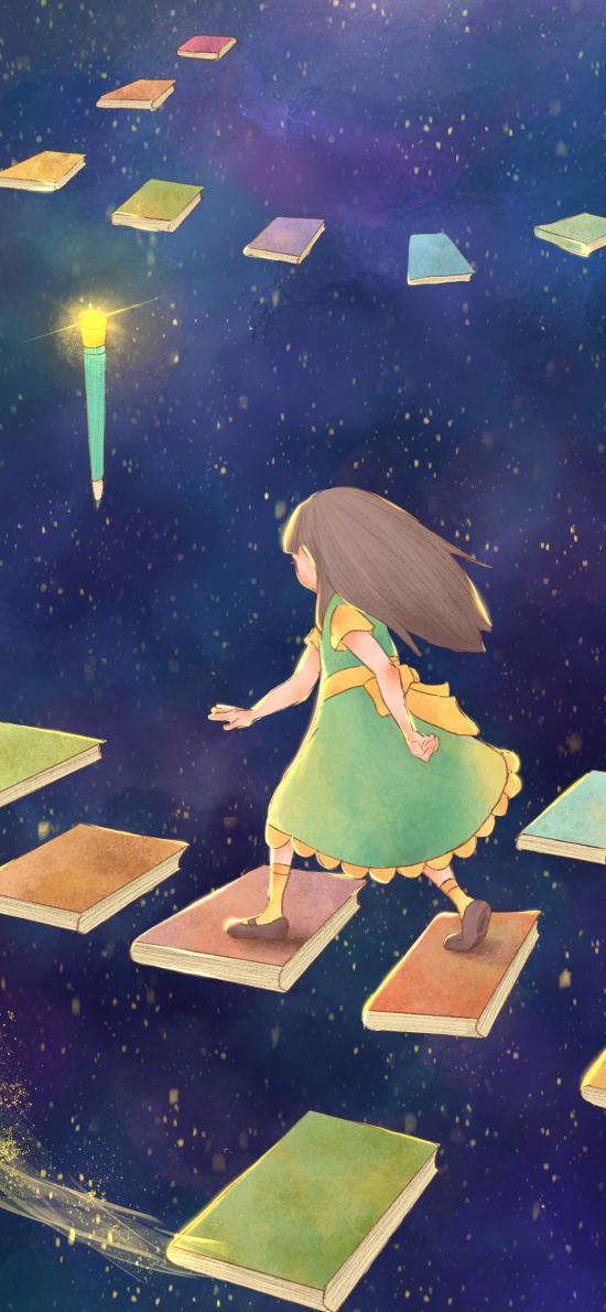插画 星空 台阶 女孩