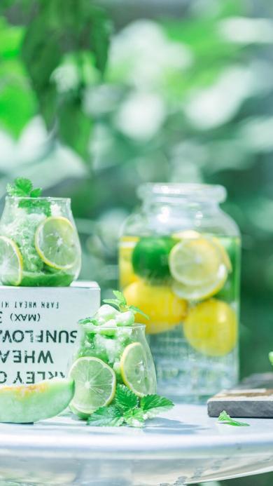 柠檬 泡渍 金桔 玻璃瓶 薄荷