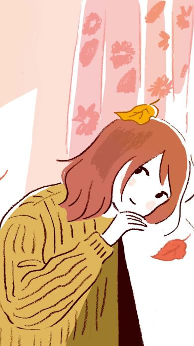 窗边 女孩 落叶 秋风 插画