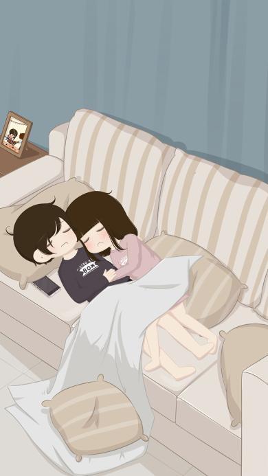 情侣 男女 爱情 睡梦 沙发