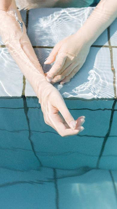手 泳池 水 唯美