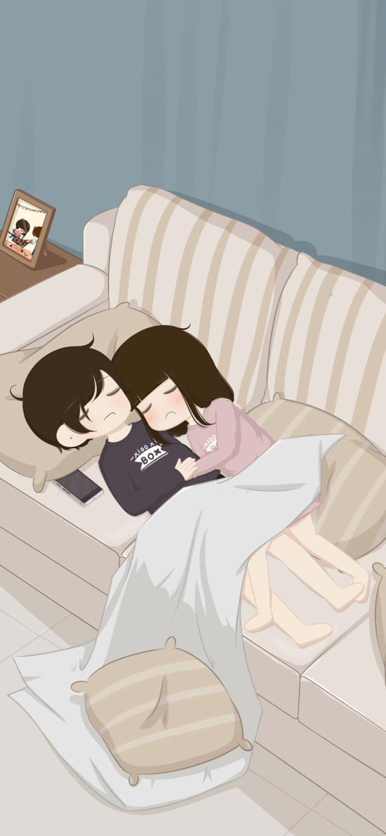 情侶 男女 愛情 睡夢 沙發