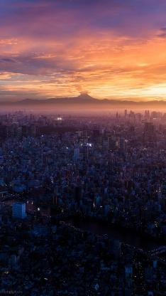 日本 城市 建筑 密集 楼房 富士山