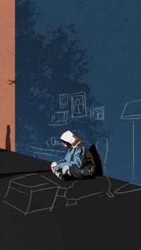 孤独 插画 墙角 影子