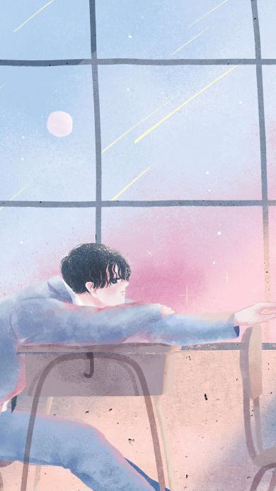 男孩 情侣 爱情 课桌 教室