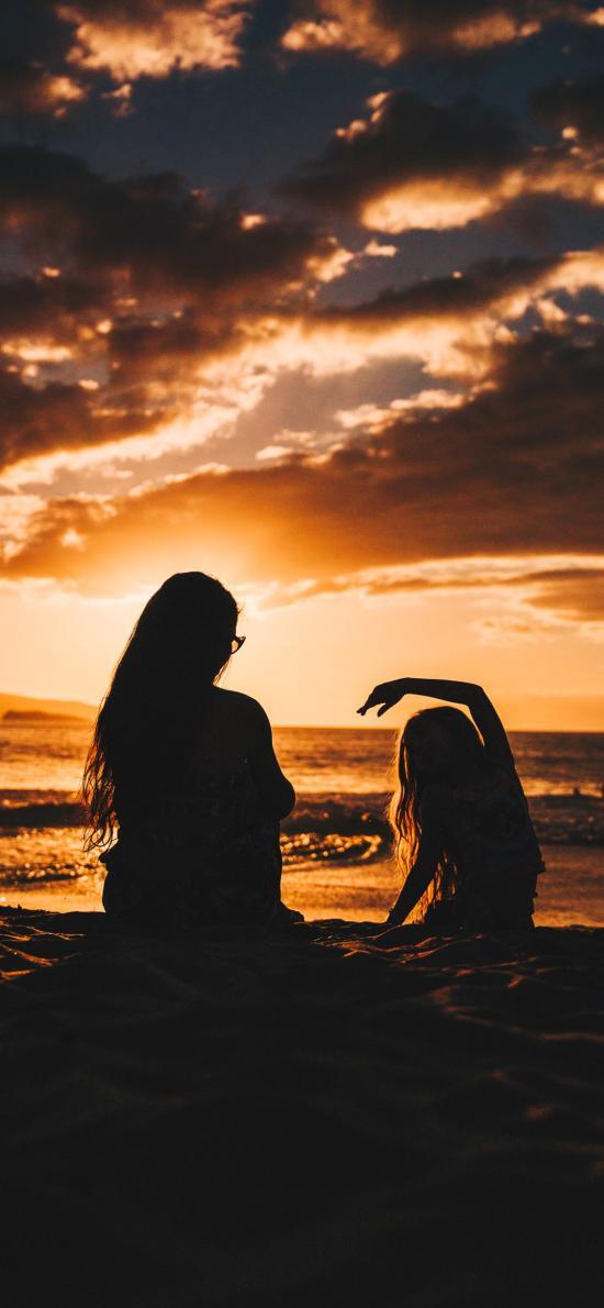 天空美景 沙滩 美女背影