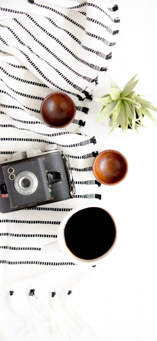 相機 咖啡 盆栽 簡約