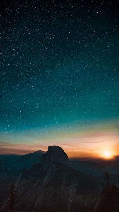 日出 星空 远望 日落