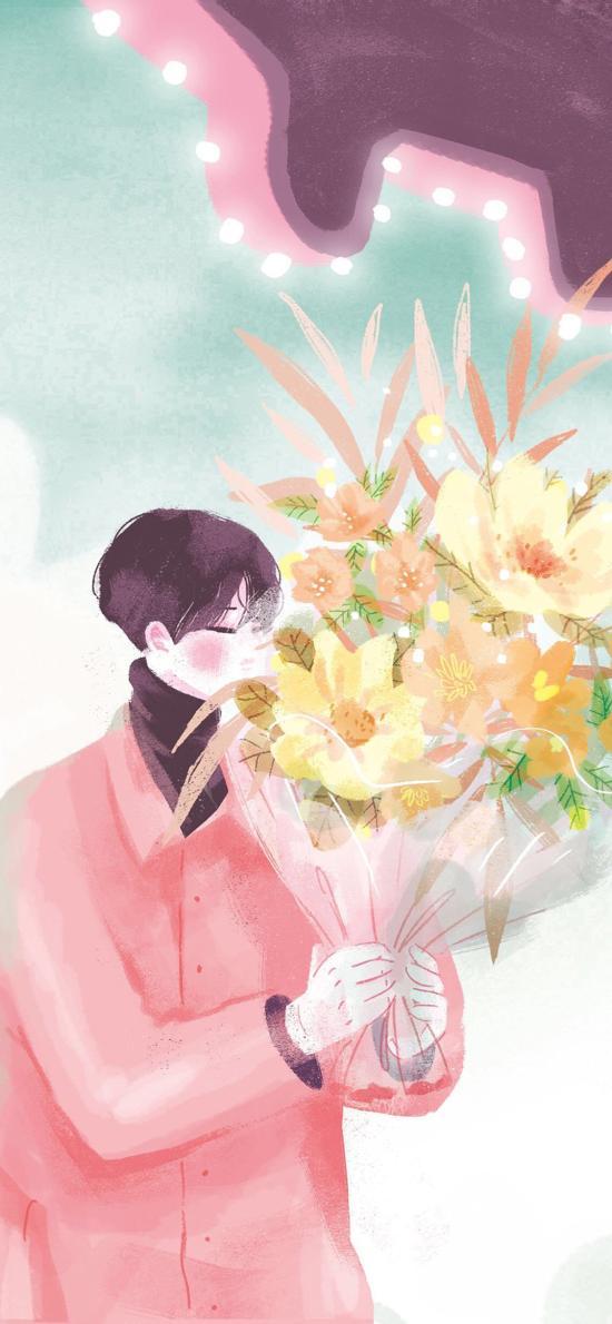 男孩 粉色 鮮花 花束 旋轉木馬 情侶