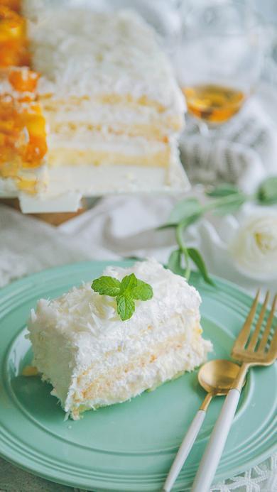 蛋糕 椰蓉 餐具 薄荷