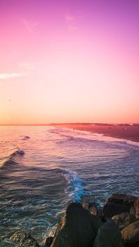 唯美海景 浪花 晚霞 礁石