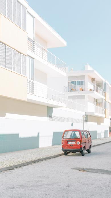 街道 面包车 建筑 城市 小清新