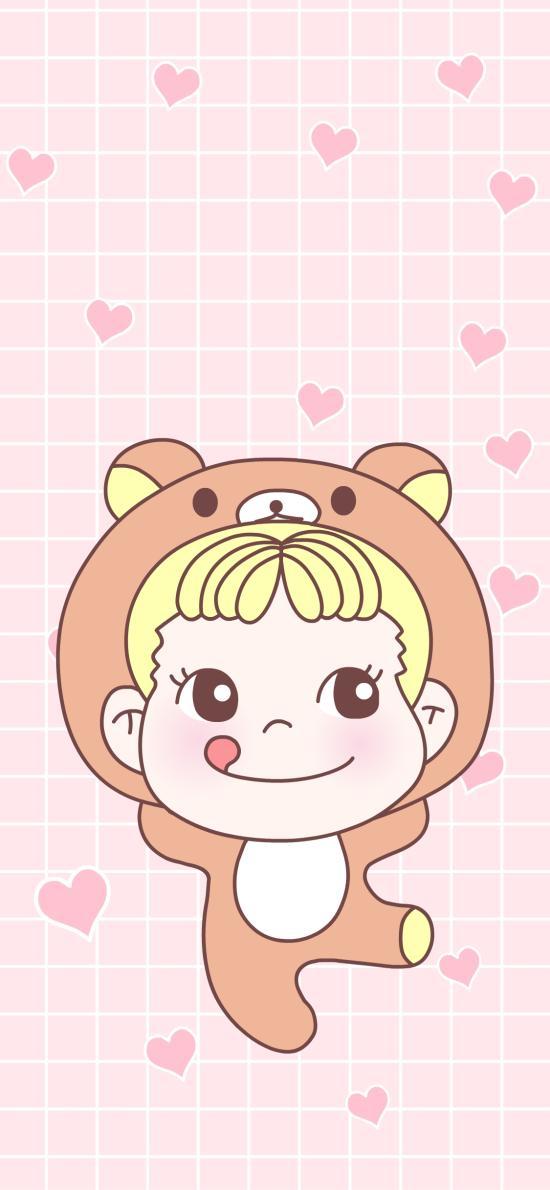 糖不二 甜妞 可爱 卡通 粉色 爱心 轻松熊
