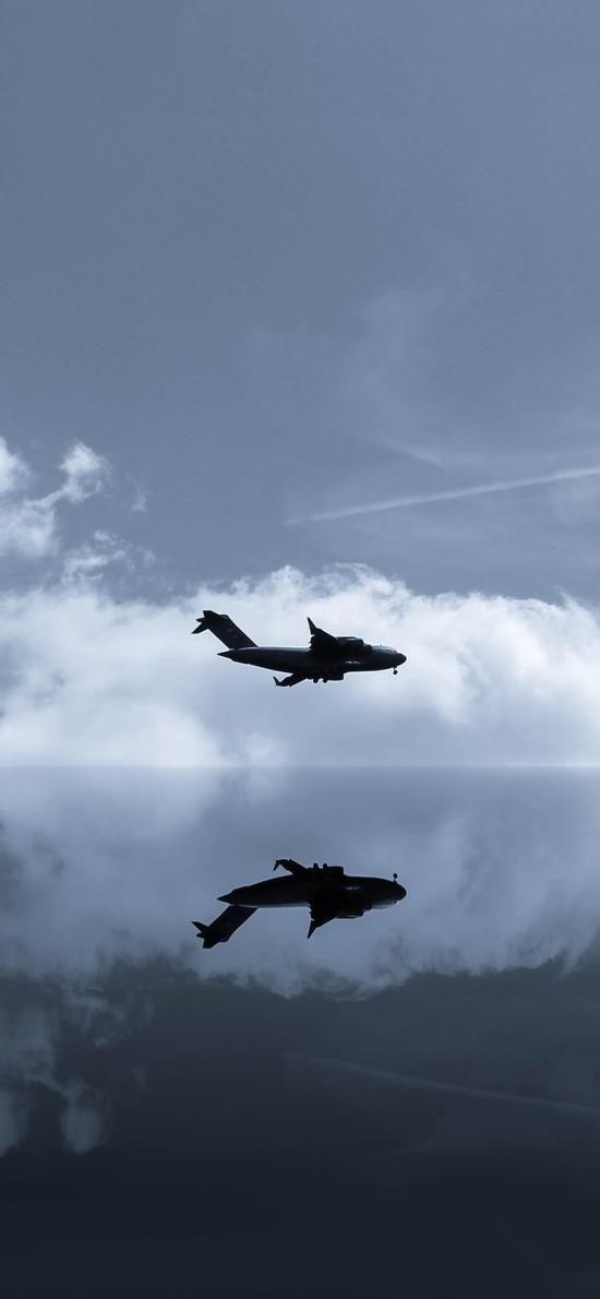 飞机 倒影 对称 飞行 航空
