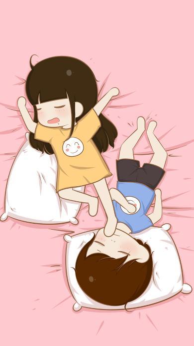 睡觉 情侣 爱情 浪漫 粉色
