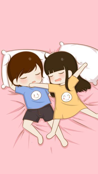 睡觉 情侣 爱情 粉色 浪漫