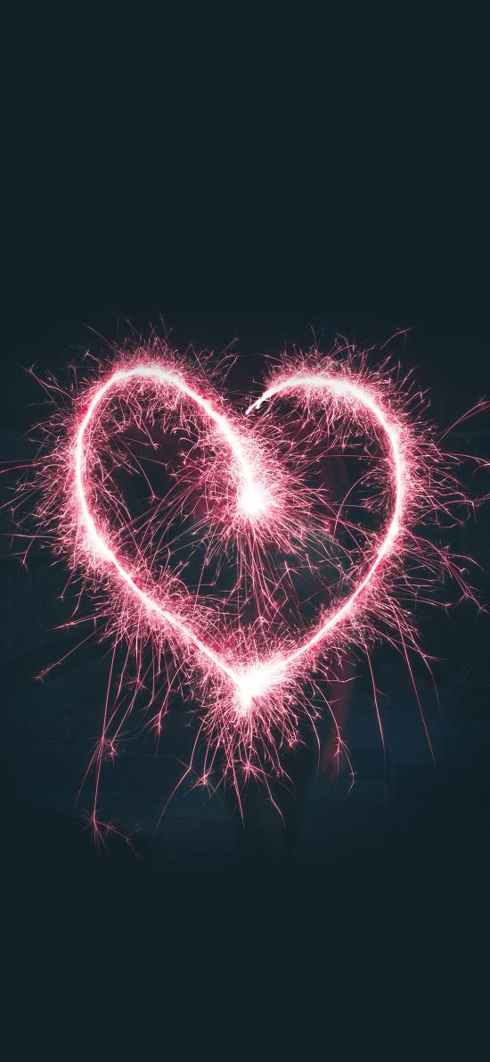 爱心 烟花棒 发光 心形 爱情