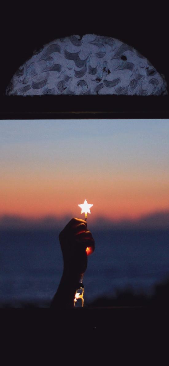 星星 窗户 黑暗 发光 手