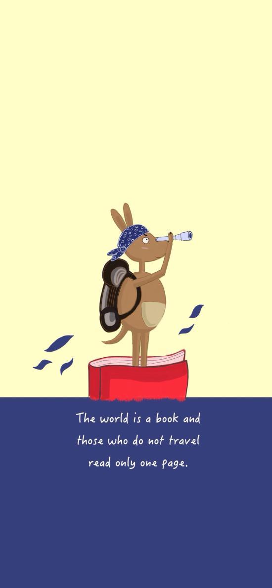卡通袋鼠 旅行 望远镜 The world is a book_