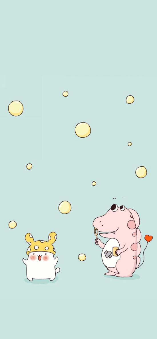 卡通鳄鱼 小兔子 吹泡泡