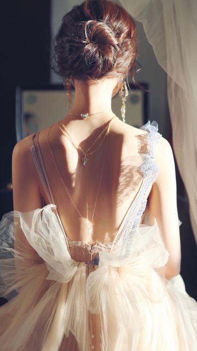 女孩 背影 美背 纱裙