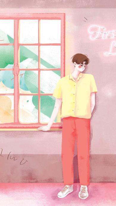 窗边 男孩 爱情 情侣 粉色