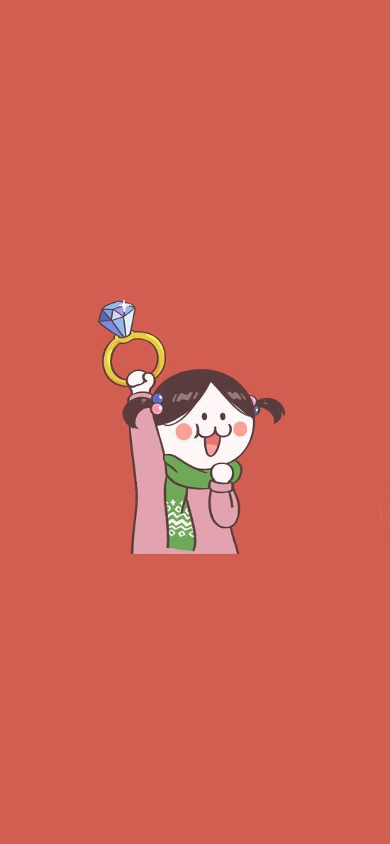 后田花子 情侶 鉆石 紅色