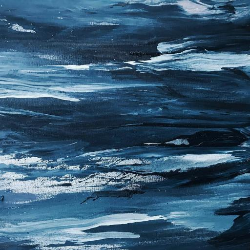 色彩 油画 笔触 蓝白