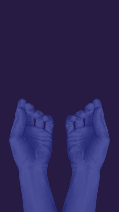 双手 蓝色 写实 具象绘画