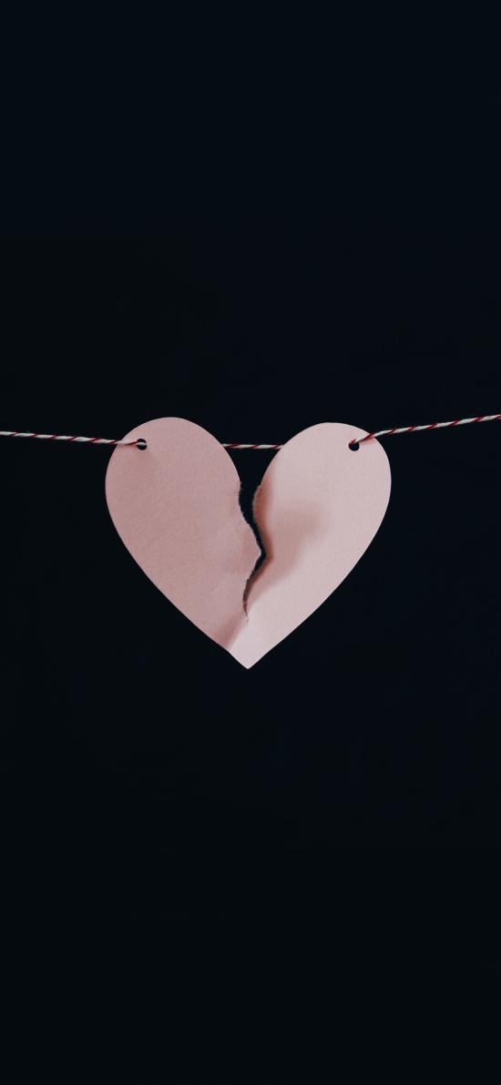 愛心 撕裂 破碎 紙片