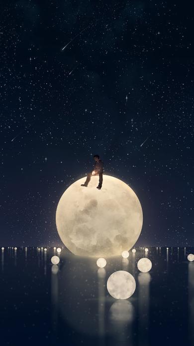 月球 倒影 男孩 漫画 夜 孤独