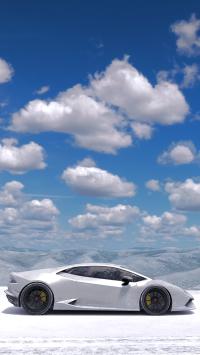 兰博基尼 炫酷 超级跑车 天空 雪地