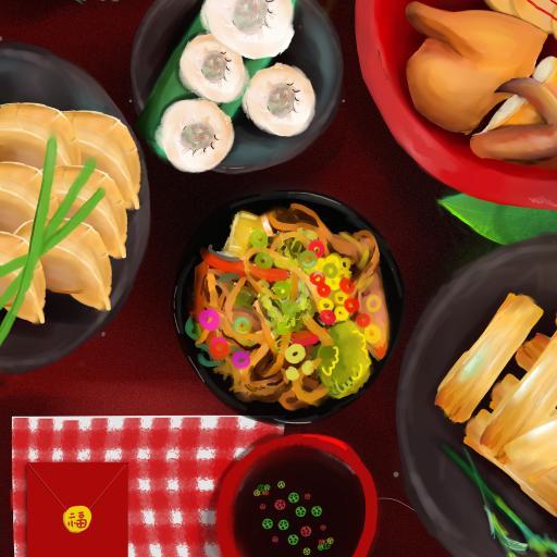 年夜饭 食物 红包 团圆 插画