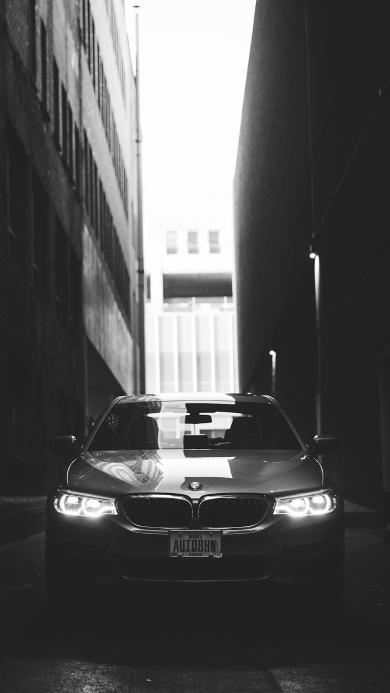 宝马 汽车 灰白 街道