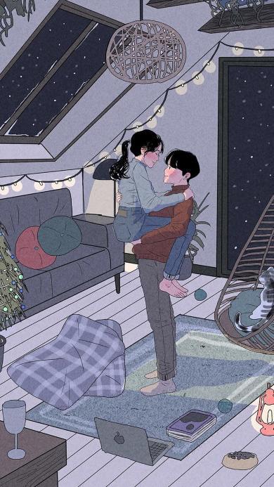 拥抱 情侣 爱情 插画