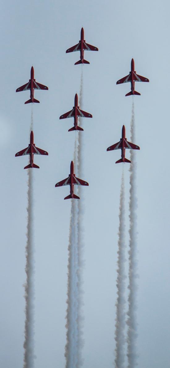 演练 飞机 干冰 喷雾 天空