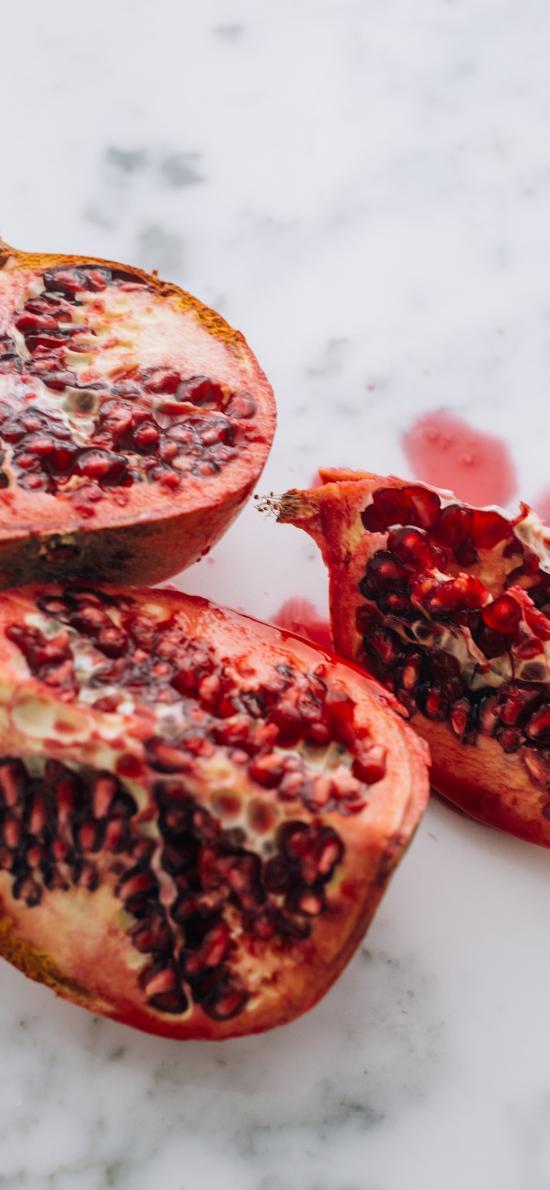 水果 石榴 鲜红 颗粒