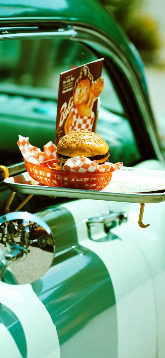 汽车 餐架 汉堡 快餐