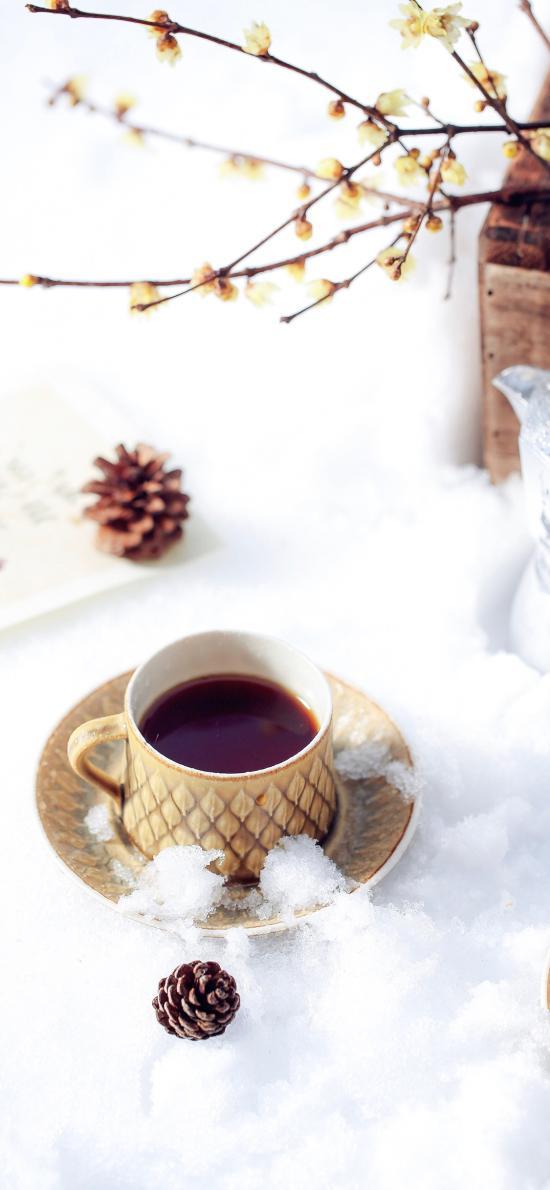 饮品 咖啡 松果 雪地