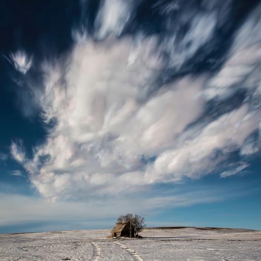 小木屋 树木 蓝天白云 自然美景