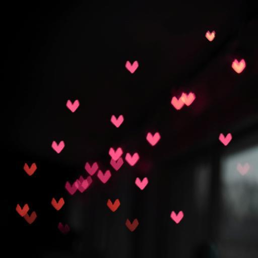 黑色背景 小红心 爱心 平铺