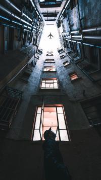 飞机 建筑 仰望 飞行 天空 楼房