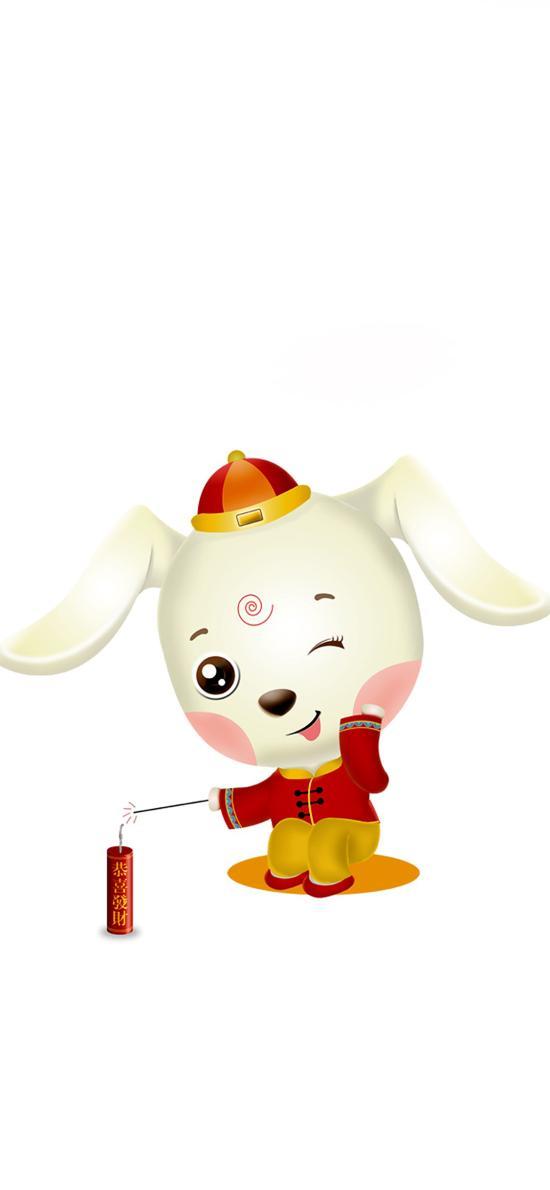 狗年 卡通 放鞭炮 春节