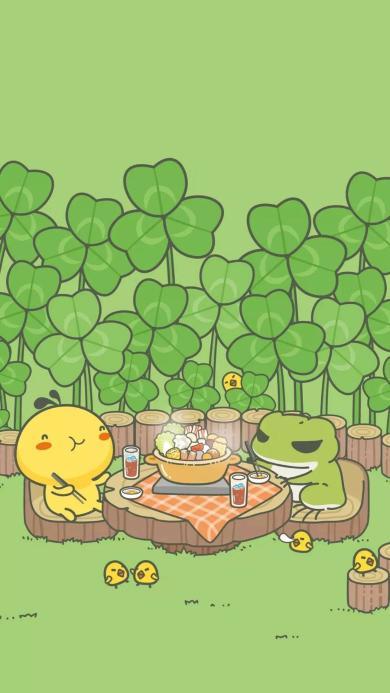 旅行青蛙 游戏壁纸 吃饭