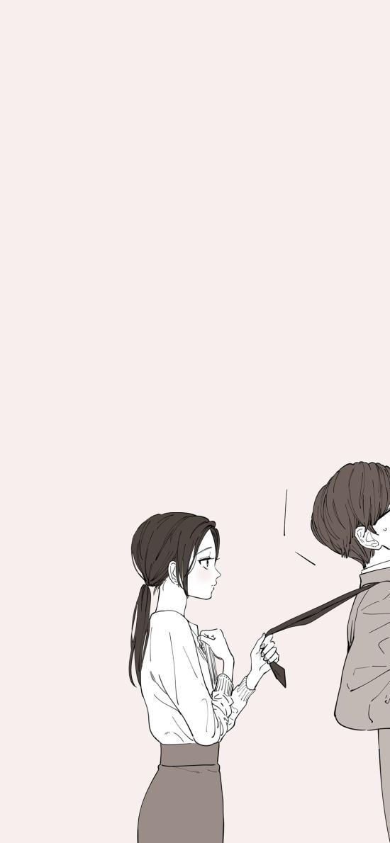 情侣 漫画 男女 爱情 领带