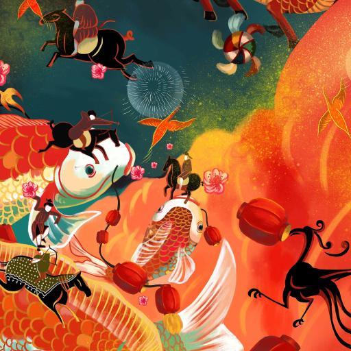 年 红色 灯笼 春节 绘画 麒麟 马  锦鲤