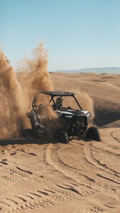 赛车 沙漠 荒野 飞扬