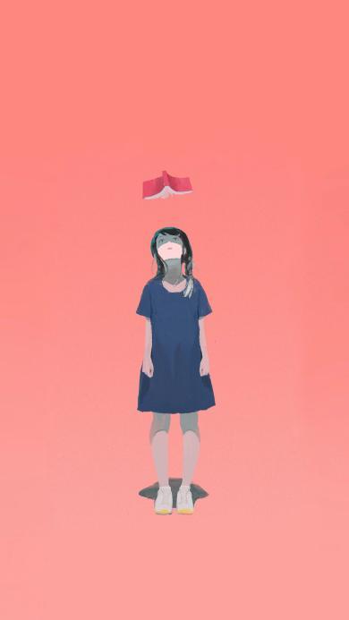 纯色背景 女孩插画 书本